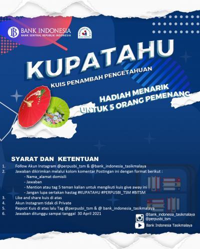Kuis Penambah Pengetahuan Perpustakaan KPw Bank Indonesia Tasikmalaya Edisi April 2021