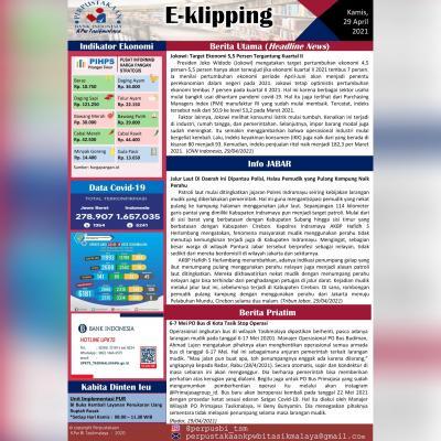 E-Kliping Perpustakaan Bank Indonesia Tasikmalaya Edisi 29 April 2021