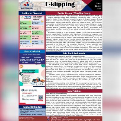 E-Kliping Perpustakaan Bank Indonesia Tasikmalaya Edisi 16 Juni 2021