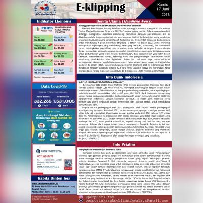 E-Kliping Perpustakaan Bank Indonesia Tasikmalaya Edisi 17 Juni 2021