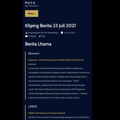 E-Kliping Perpustakaan Bank Indonesia Tasikmalaya Edisi 23 Juli 2021
