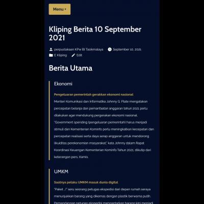 E-Kliping Perpustakaan Bank Indonesia Tasikmalaya Edisi 10 September 2021