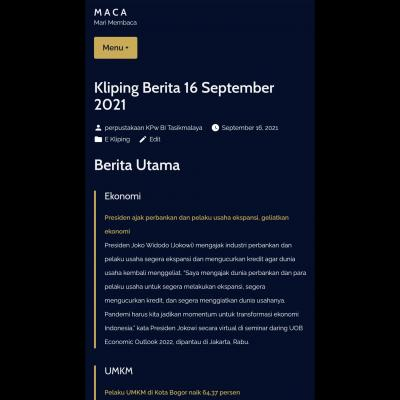 E-Kliping Perpustakaan Bank Indonesia Tasikmalaya Edisi 16 September 2021