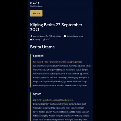 E-Kliping Perpustakaan Bank Indonesia Tasikmalaya Edisi 22 September 2021