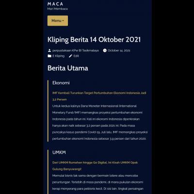 E-Kliping Perpustakaan Bank Indonesia Tasikmalaya Edisi 14 Oktober 2021