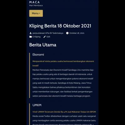 E-Kliping Perpustakaan Bank Indonesia Tasikmalaya Edisi 18 Oktober 2021